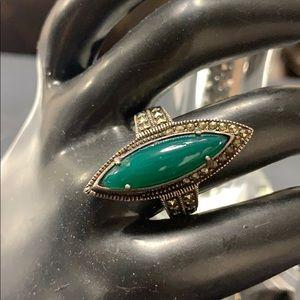 Jewelry - Malachite gemstone silver ring